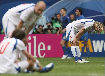 The Czech Republic's players look desolate