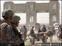 US soldiers in Spin Boldak, on the Afghan border with Pakistan