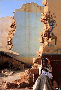 An Ethiopian woman in front of ruins in the Ethiopian town of Zala Ambesa, February 2001