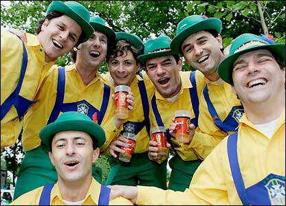 Brazil fans adopt a local style of dress in Dortmund
