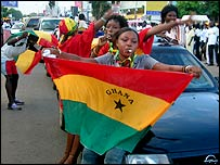 Ghana supporters celebrate