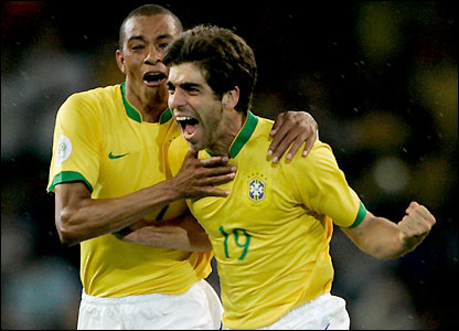 Juninho shows his delight at scoring the second