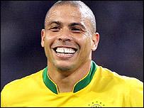 Ronaldo celebrates scoring for Brazil
