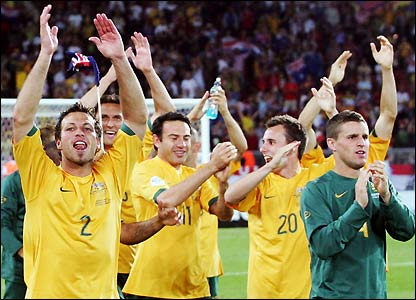 Australia's players celebrate their historic achievement