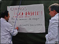 Bolivian doctors in a previous 1 June protest against the influx of Cuban medics