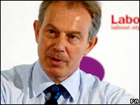 Tony Blair at a meeting in Bristol