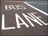 Bus lane markings