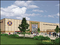 Artist's impression of Antonine Shopping Centre - image courtesy of Steve Lindridge