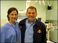 Mr Barnett with Karen Jones senior sister at the Heart Attack Centre