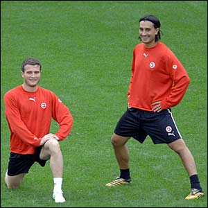Switzerland's Alexander Frei and Hakan Yakin