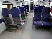 Full-scale model of the interior of a Hitachi train