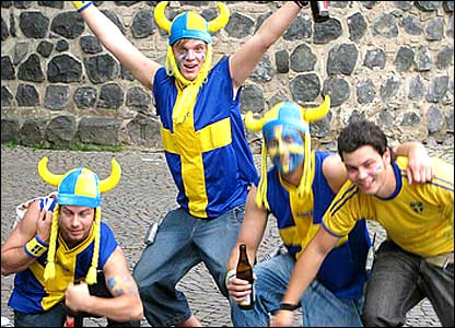 Swede's dressed as Vikings celebrating
