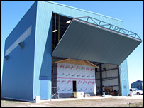 The test hangar with the house inside