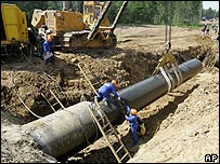 Baltic gas pipeline near Boksitogorsk, 300km (187.5 miles) east of St Petersburg
