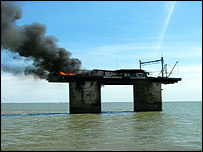 Sealand has been hit by a generator fire (Pictures: Harwich Lifeboat)