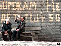 Russian homeless people drinking