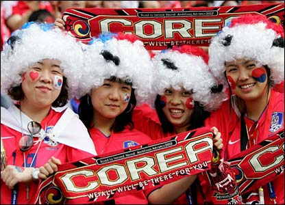 South Korean fans at the ground