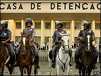 Brazilian police outside a large jail