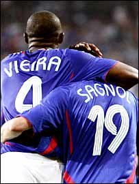 Patrick Vieira celebrates his goal with team-mate Willy Sagnol