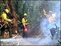 Firefighters at Slide Rock State Park in Oak Creek Canyon near Sedona