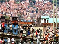 Residents near the Rocinha favela, Rio de Janeiro