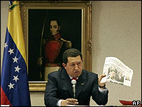 Hugo Chávez, presidente de Venezuela en conferencia de prensa en Panamá.