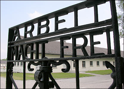 'Work brings freedom' written in the gates of Dachau