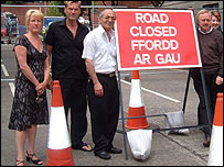 Traders by the roadworks in Swansea