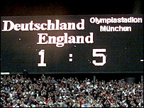 The scoreline from England's 2002 World Cup qualifier against Germany, one of Eriksson's career high