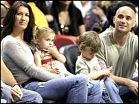 The Agassi family - Steffi Graf (left) and Andre Agassi with their two children