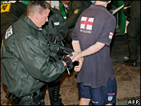 An England is arrested in Stuttgart on Friday night