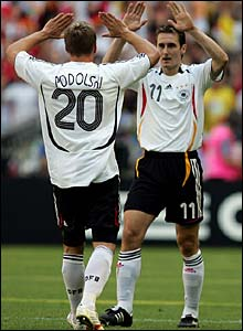 Lukas Podolski celebrates with Miroslav Klose