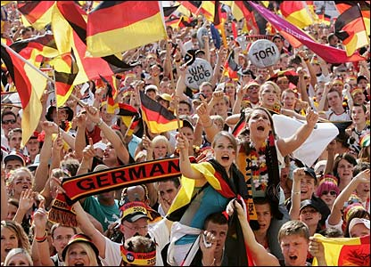 German fans celebrate the 2-0 win