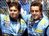 Renault duo Giancarlo Fisichella (left) and Fernando Alonso (right)