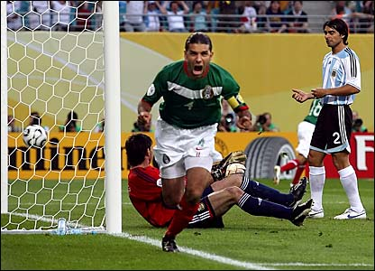 Mexico's Rafael Marquez opens the scoring