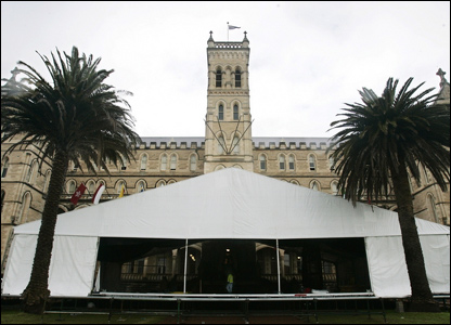 A marquee erected in the grounds is expected to hold guests including actors Hugh Jackman and Naomi Watts.