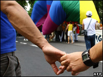 Activists in a gay rights parade