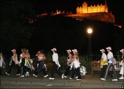 The marathon route took walkers past Edinburgh Castle