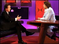 David Cameron appearing on Friday Night with Jonathan Ross