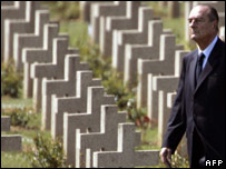 Jacques Chirac walks among the graves at Douaumont first world war cemetery