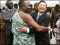 Chinese Premier Wen Jiabao meeting dignitaries in Ghana earlier this year