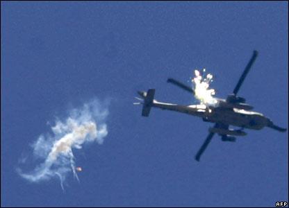 Israeli helicopter over Rafah, 25 June.