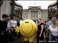 Mr Happy character at Buckingham Palace