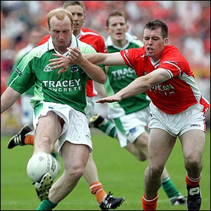 Sean Doherty of Fermanagh in action against Ciaran McKeever