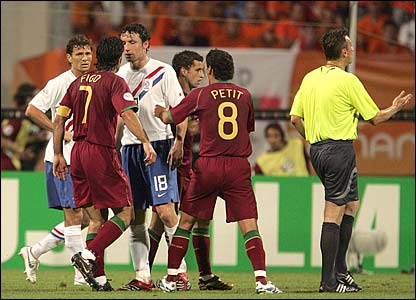 Players argue on the pitch