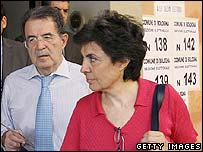 Italian PM Romano Prodi (L) and his wife leave their polling station 25 June 2006