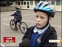 children at a school in Bingley which encourages cycling