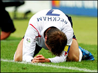 Beckham sunk to his knees as he suffered from dehydration