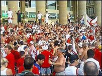 England fans in Stuttgart