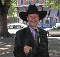 The Daily Telegraph's editor, Andrew McKie, poses in cowboy hat
